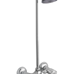 Flora Single Lever Bath Mixer Wall Type With Legend Overhead Shower and 4 feet rod